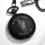 Pocket Watch St Christopher Personalised, Black ref PWSCB